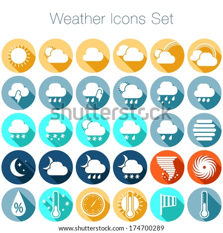 Weather flat icons set for Web and Mobile Applications  - stock vector
