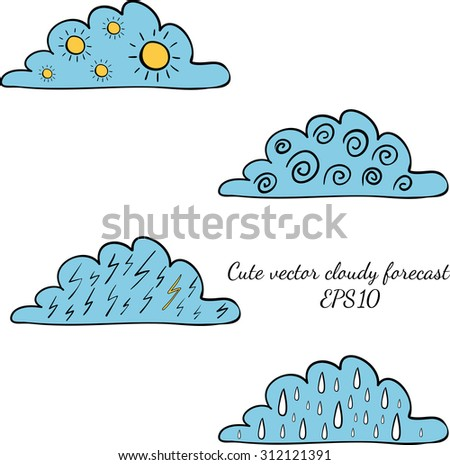 Weather forecast colorful signs in clouds isolated on white background. Wind, rain, thunder, sun. Vector hand drawn illustration - stock vector