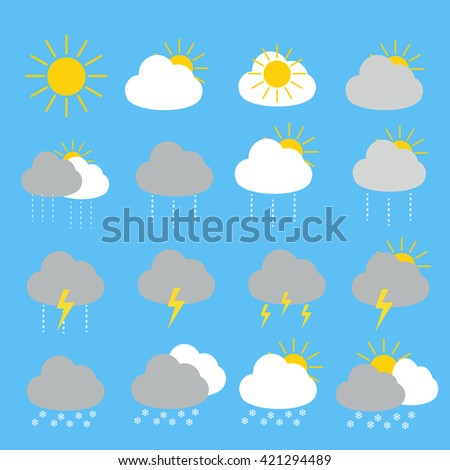 Weather forecast icon set with sunny , rainy,thunderstorm and snow set 16 items include  sun cloud.sunny,sunny.cloud,rain.cloud.sun rain.sun in summer cloud.thunder cloud.storm cloud.thunderstorm - stock vector