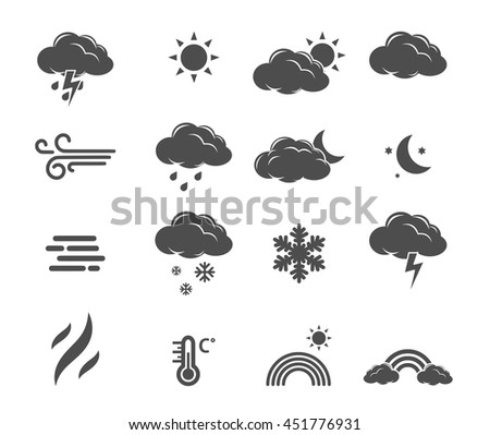 Weather forecast, meteorology icon set vector