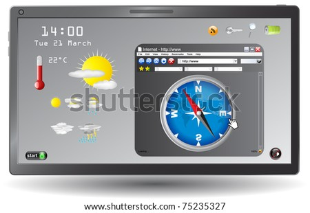 Weather forecast page on touchscreen tablet ,vector - stock vector