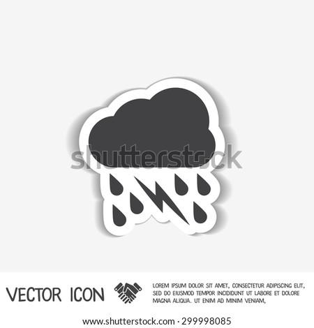 weather icon. cloud rain lightning sign - stock vector