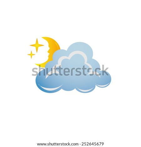 weather icon - cloud with moon - stock vector