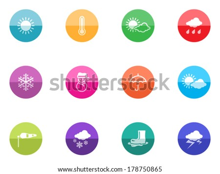 Weather icon series in color circles.  - stock vector
