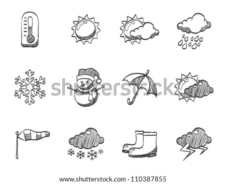 Weather icon series in sketch - stock vector