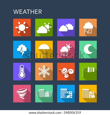 Weather icon set - Flat Series with long shadows - stock vector