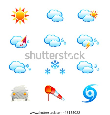 Weather icon-set isolated over white - stock vector