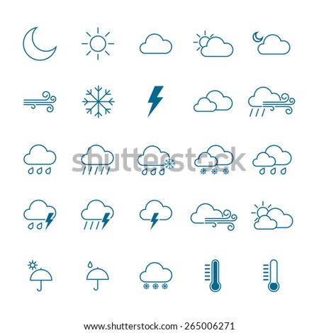 Weather icon set. isolated Vector illustration - stock vector