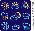 weather icon set (vector, CMYK) - stock vector