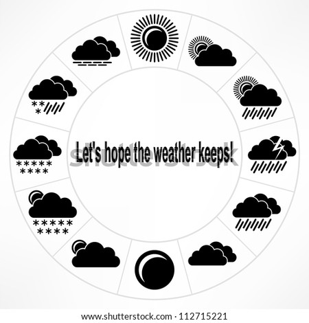 Weather icon set. Vector EPS-8, icons are on separate layer. - stock vector