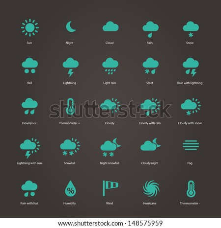 Weather icons. Additional part. Vector illustration. - stock vector