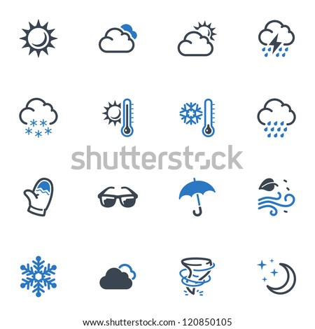 Weather Icons - Blue Series - stock vector