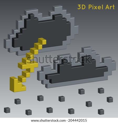 Weather icons. 3D Pixel Art. - stock vector