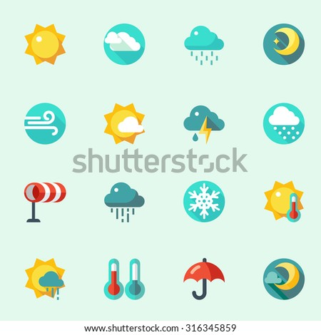Weather icons in flat design - stock vector