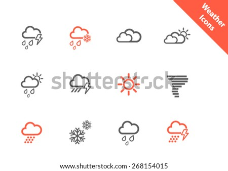 Weather icons in flat style - stock vector