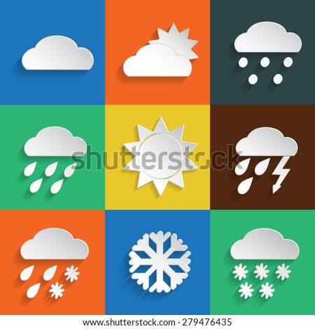 Weather icons in paper style on colored backgrounds. Vector background or separate elements