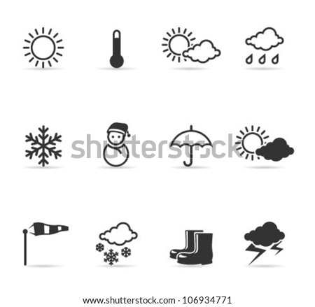 Weather icons  in single color. Transparent shadows placed on separated layer. - stock vector