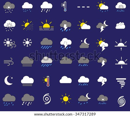 Weather icons in the blue background - stock vector