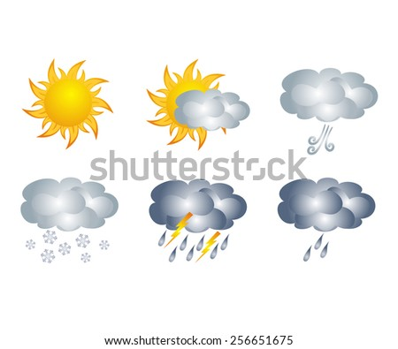 Weather icons, isolated on white background - stock vector