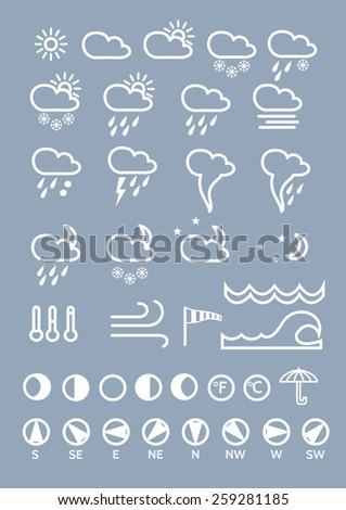 Weather icons line theme on grey background . Set of  thin and clean outline weather icons for web or mobile use, linear style - stock vector