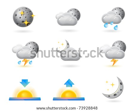 Weather icons, night - stock vector