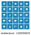Weather icons on blue background. Vector illustration. - stock vector