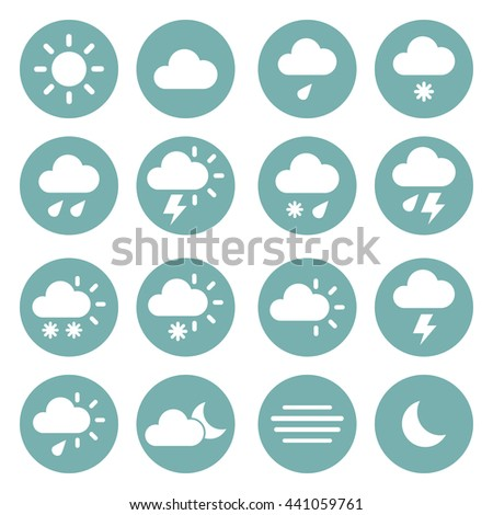 Weather icons ona blue circles. Vector illustration - stock vector