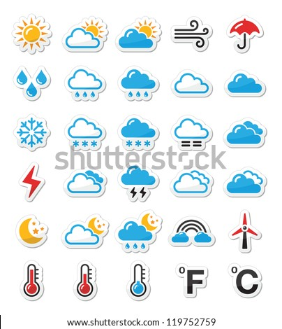 Weather icons set as labels - vector - stock vector