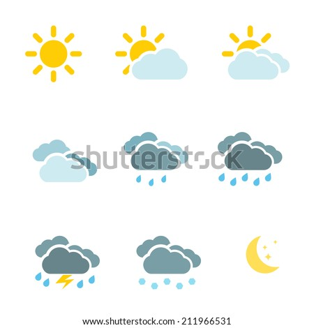 Weather icons set color simple flat symbols isolated on white background. Vector illustration - stock vector