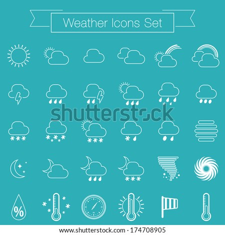 Weather icons set for Web and Mobile Applications. Vector - stock vector
