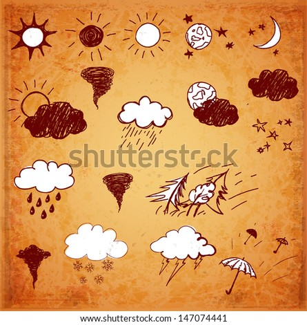 Weather icons set. Hand drawn sketch illustration in vintage style. Vector illustration.