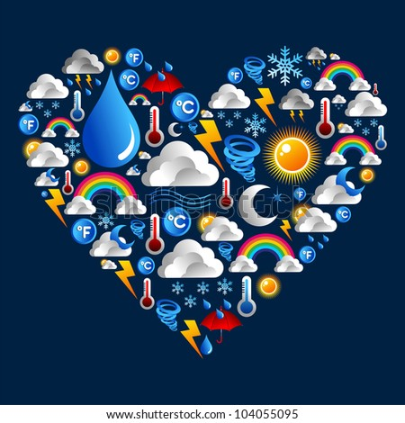 Weather Icons set in love heart shape over blue background. Vector file layered for easy manipulation and custom coloring. - stock vector