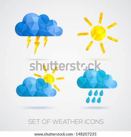 Weather icons set in polygonal geometric style. Vector illustration. - stock vector