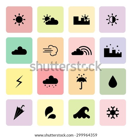 Weather icons. Set of weather icons. Vector. Silhouette. Black icons - stock vector