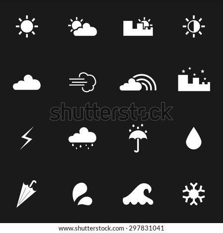 Weather icons. Set of weather icons. Vector. Silhouette. White icons. Black background - stock vector
