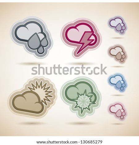 Weather Icons Set, pictured here from left to right, top to bottom:  Rainy weather, Storm Weather, Sunny Weather, Snowy Weather. - stock vector