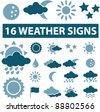 weather icons set, signs, vector - stock vector