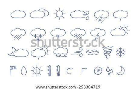 Weather icons. Simple hand drawn illustration. Temperature, humidity, wind, rain, sun, snow symbols. - stock vector