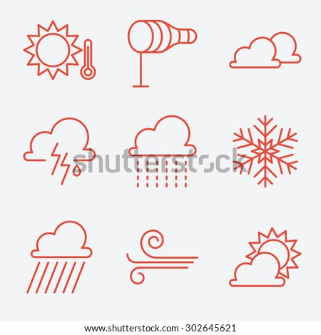 Weather  icons, thin line style, flat design - stock vector