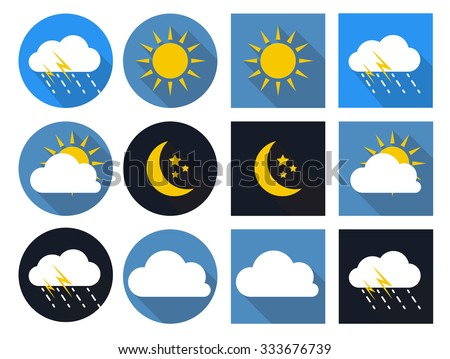 Weather Icons with Sun, Cloud, Rain and Moon in Flat Style with Long Shadows EPS10 - stock vector