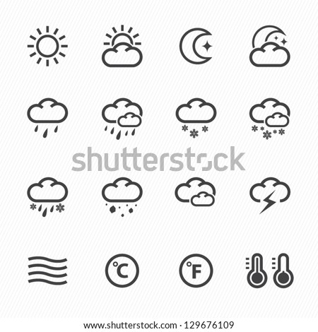 Weather Icons with White Background - stock vector
