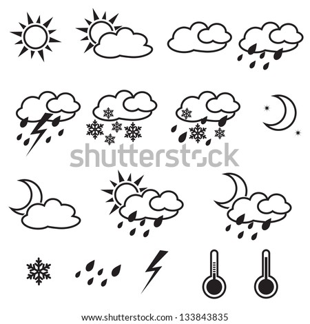 Weather Icons with White Background,  sun, cloud, snow, rain - stock vector