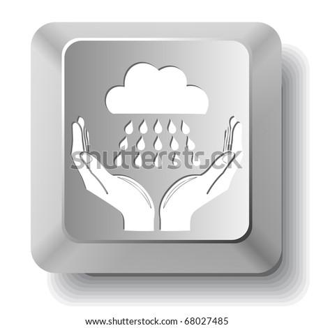 weather in hands. Vector computer key. - stock vector
