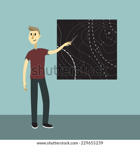 Weather news reporter at work. Vector illustration. Young man show the weather map.
