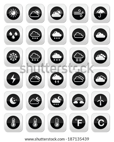 Weather round vector buttons set - stock vector