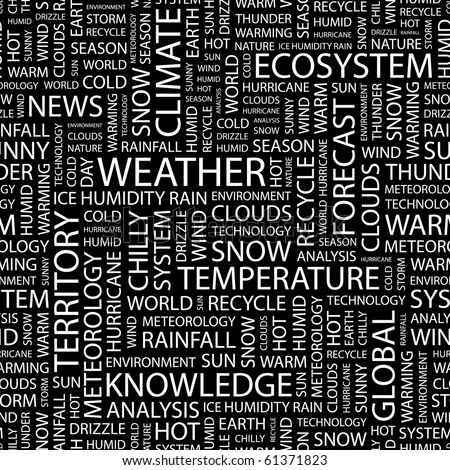 WEATHER. Seamless vector pattern with word cloud. Illustration with different association terms.