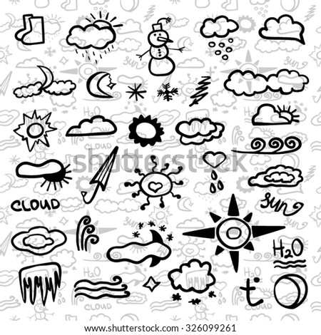 Weather set cute design seamless