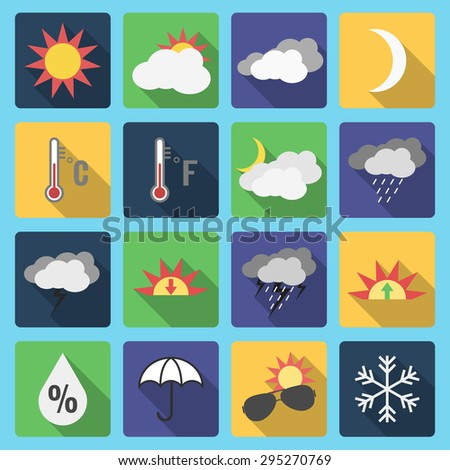 Weather set, long shadow icon