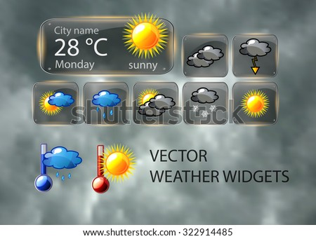Weather set of icons - clouds, sun, snow, rain, storm and thermometer. - stock vector