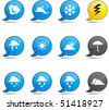 Weather set of round glossy comics. - stock vector
